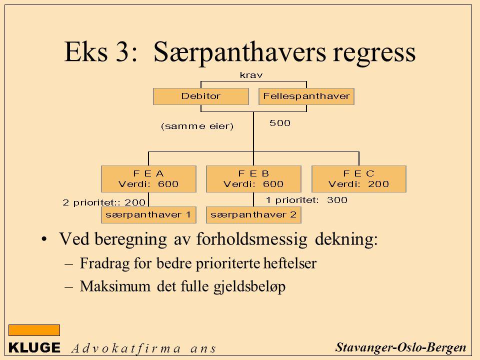 KLUGE A d v o k a t f i r m a a n s Stavanger-Oslo-Bergen Eks 3: Særpanthavers regress Ved beregning av forholdsmessig dekning: –Fradrag for bedre pri