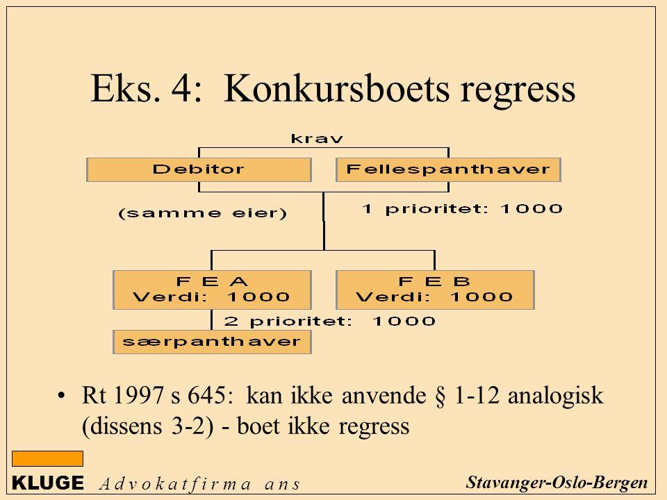 KLUGE A d v o k a t f i r m a a n s Stavanger-Oslo-Bergen Rt 1997 s 645: kan ikke anvende § 1-12 analogisk (dissens 3-2) - boet ikke regress Eks. 4: K