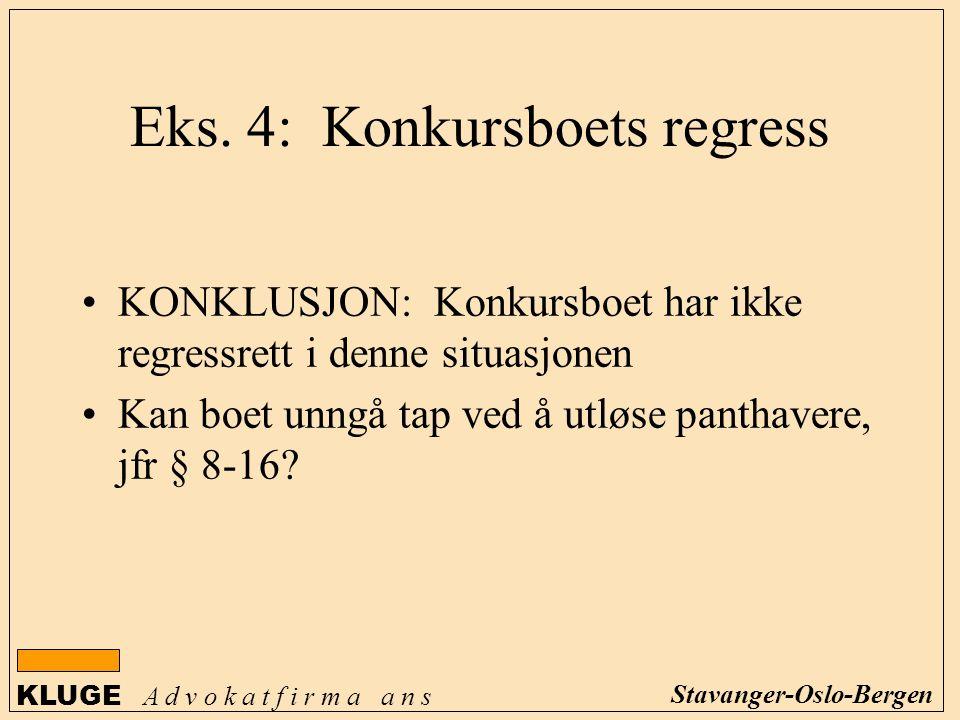 KLUGE A d v o k a t f i r m a a n s Stavanger-Oslo-Bergen KONKLUSJON: Konkursboet har ikke regressrett i denne situasjonen Kan boet unngå tap ved å ut