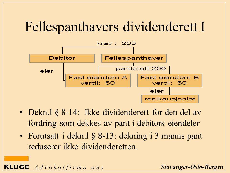 KLUGE A d v o k a t f i r m a a n s Stavanger-Oslo-Bergen Fellespanthavers dividenderett I Dekn.l § 8-14: Ikke dividenderett for den del av fordring s