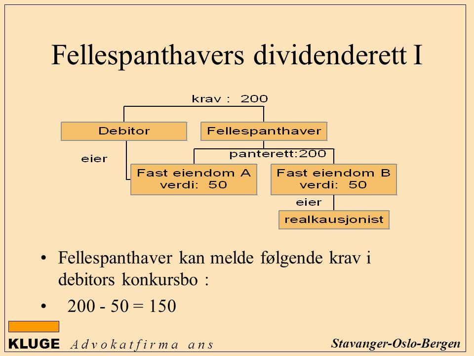 KLUGE A d v o k a t f i r m a a n s Stavanger-Oslo-Bergen Fellespanthavers dividenderett I Fellespanthaver kan melde følgende krav i debitors konkursb