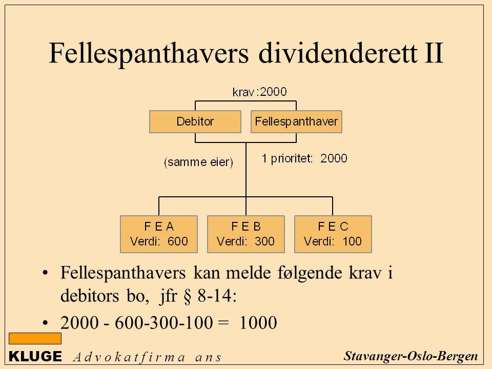 KLUGE A d v o k a t f i r m a a n s Stavanger-Oslo-Bergen Fellespanthavers dividenderett II Fellespanthavers kan melde følgende krav i debitors bo, jf