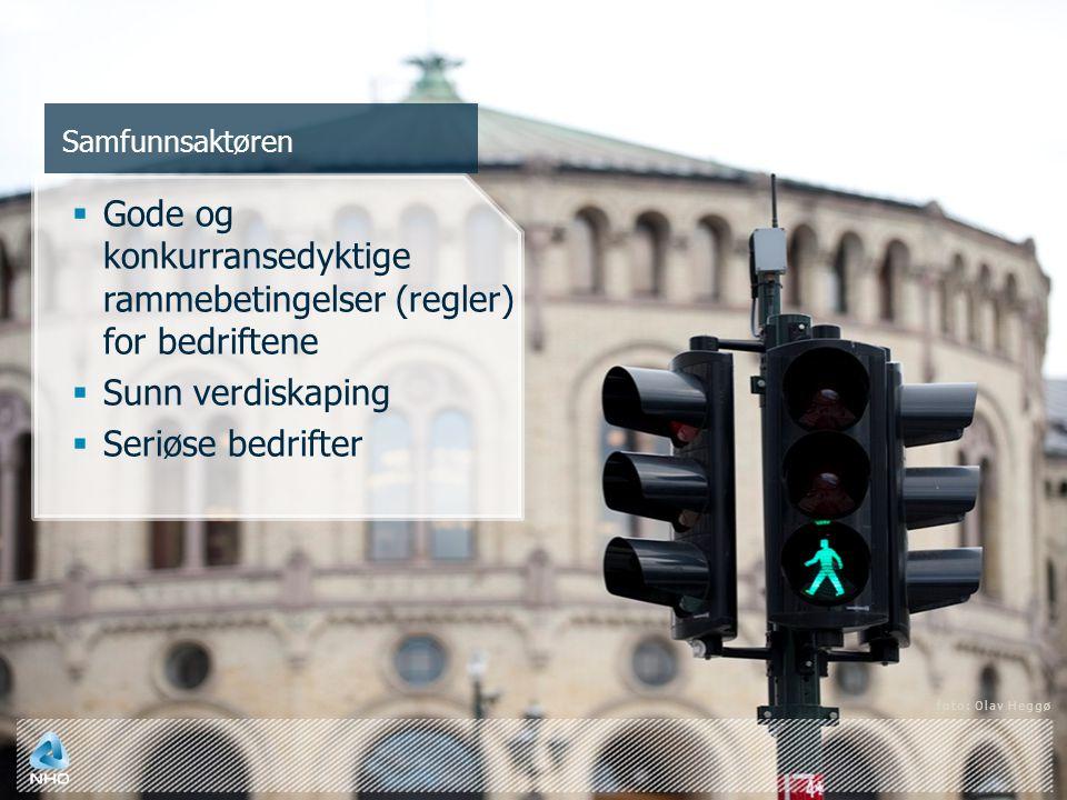 Samfunnsaktøren  Gode og konkurransedyktige rammebetingelser (regler) for bedriftene  Sunn verdiskaping  Seriøse bedrifter foto: Olav Heggø