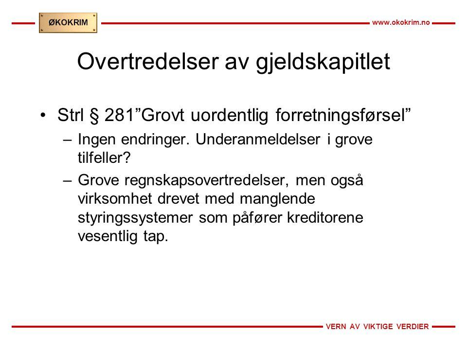 VERN AV VIKTIGE VERDIER www.okokrim.no Overtredelser av gjeldskapitlet Strl § 281 Grovt uordentlig forretningsførsel –Ingen endringer.