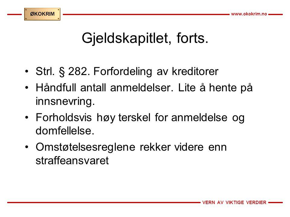 VERN AV VIKTIGE VERDIER www.okokrim.no Gjeldskapitlet, forts.