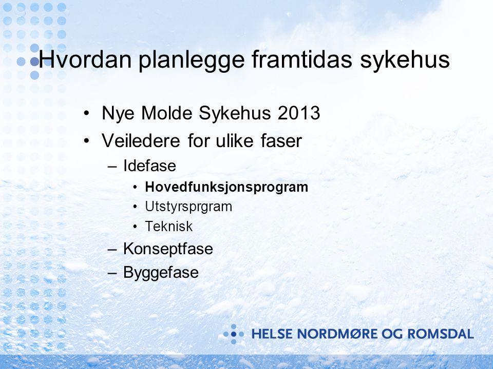 Hvordan planlegge framtidas sykehus Nye Molde Sykehus 2013 Veiledere for ulike faser –Idefase Hovedfunksjonsprogram Utstyrsprgram Teknisk –Konseptfase