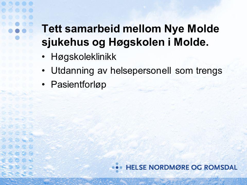 Tett samarbeid mellom Nye Molde sjukehus og Høgskolen i Molde. Høgskoleklinikk Utdanning av helsepersonell som trengs Pasientforløp