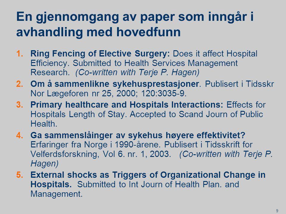 10 Paper 1: Hvilken effekt har skjerming av elektiv kirurgi?