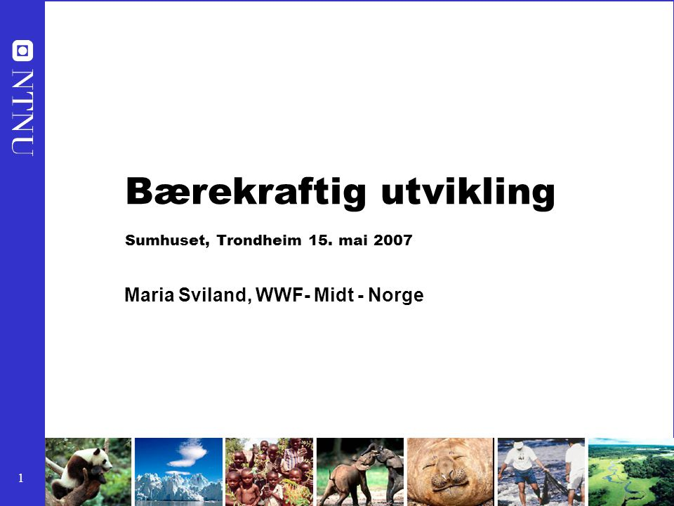 1 Bærekraftig utvikling Sumhuset, Trondheim 15. mai 2007 Maria Sviland, WWF- Midt - Norge