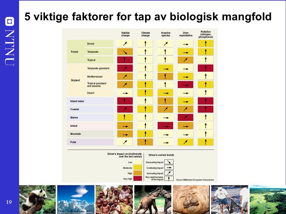 19 5 viktige faktorer for tap av biologisk mangfold