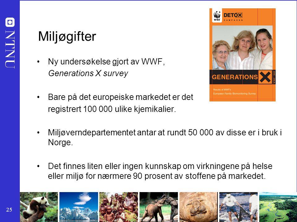 25 Miljøgifter Ny undersøkelse gjort av WWF, Generations X survey Bare på det europeiske markedet er det registrert 100 000 ulike kjemikalier. Miljøve