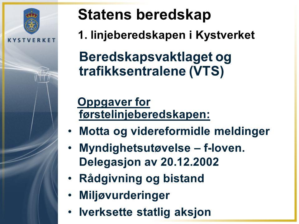Statens beredskap 1. linjeberedskapen i Kystverket Beredskapsvaktlaget og trafikksentralene (VTS) Oppgaver for førstelinjeberedskapen: Motta og videre