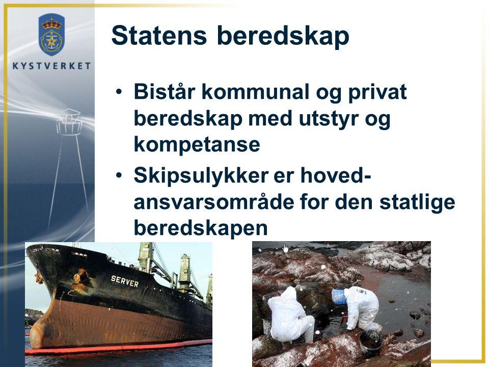 Statens beredskap Bistår kommunal og privat beredskap med utstyr og kompetanse Skipsulykker er hoved- ansvarsområde for den statlige beredskapen