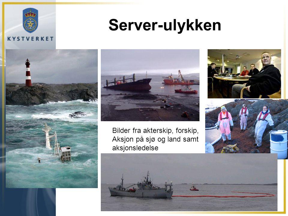 Server-ulykken Bilder fra akterskip, forskip, Aksjon på sjø og land samt aksjonsledelse