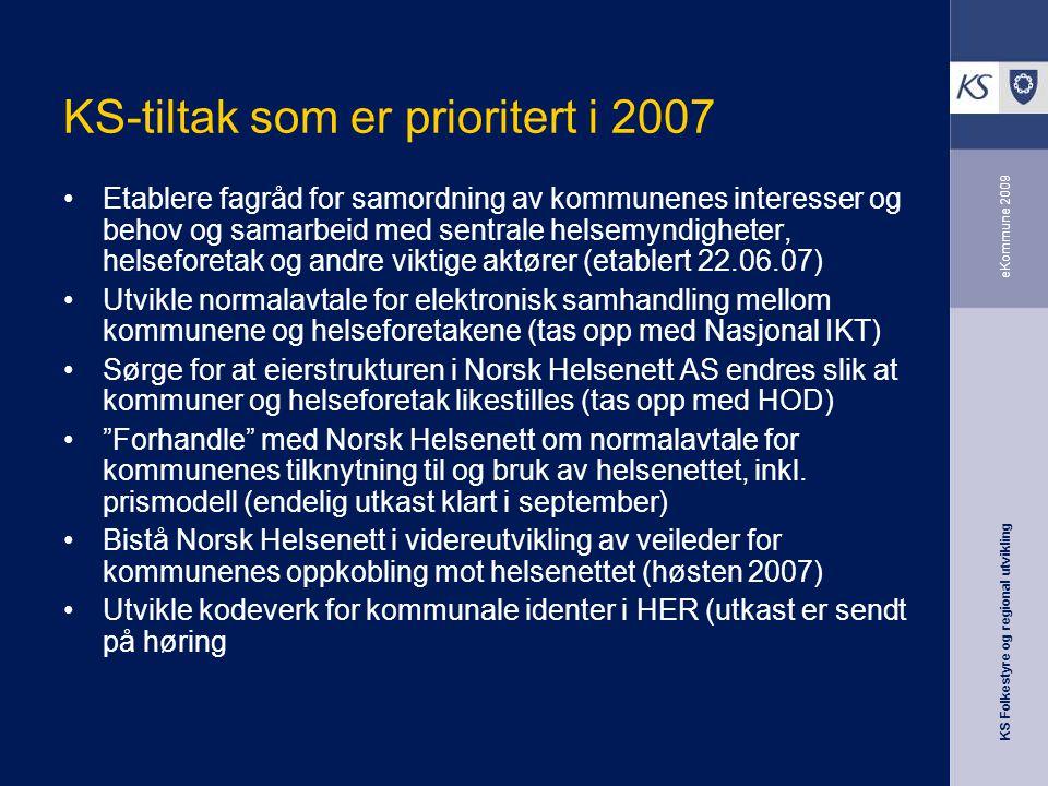 KS Folkestyre og regional utvikling eKommune 2009 KS-tiltak som er prioritert i 2007 Etablere fagråd for samordning av kommunenes interesser og behov