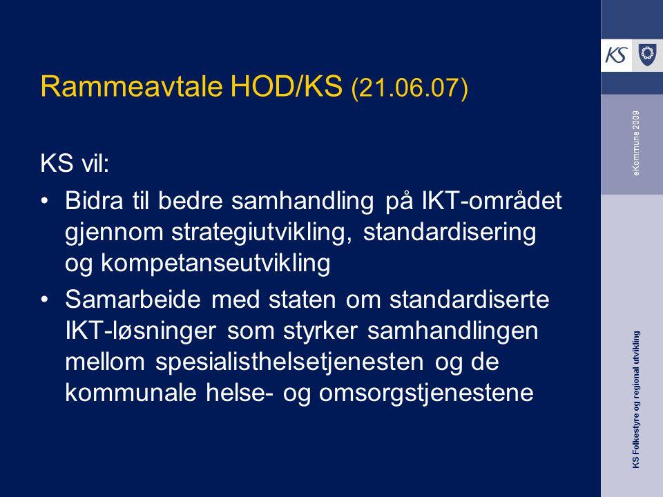 KS Folkestyre og regional utvikling eKommune 2009 Rammeavtale HOD/KS (21.06.07) KS vil: Bidra til bedre samhandling på IKT-området gjennom strategiutv