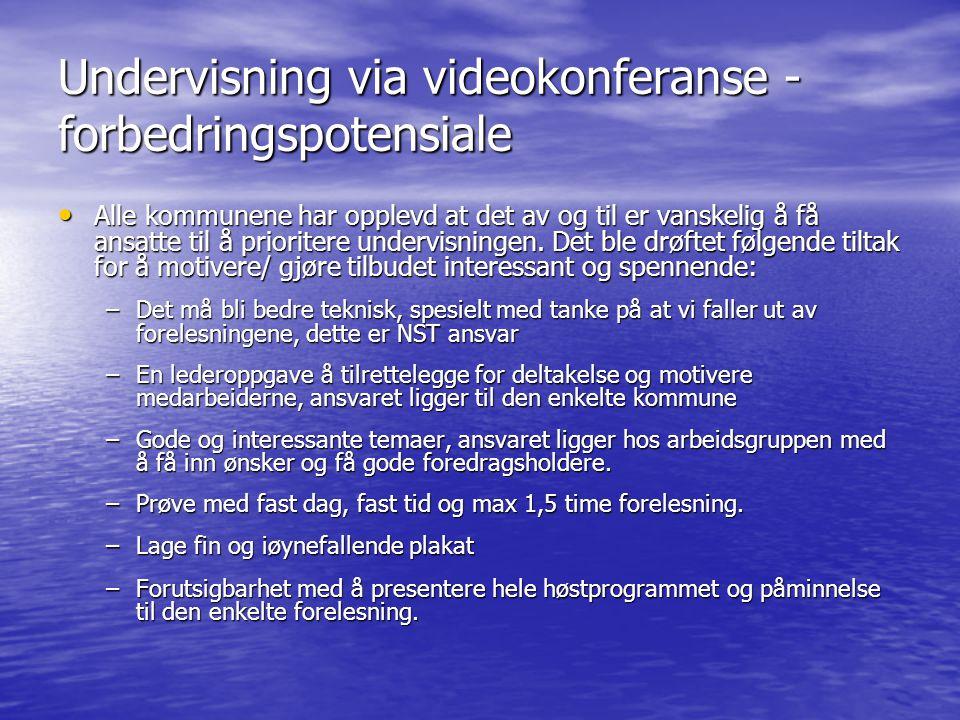 Undervisning via videokonferanse - forbedringspotensiale Alle kommunene har opplevd at det av og til er vanskelig å få ansatte til å prioritere underv
