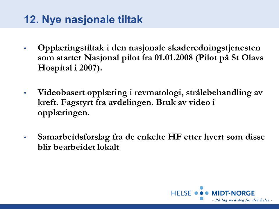 12. Nye nasjonale tiltak Opplæringstiltak i den nasjonale skaderedningstjenesten som starter Nasjonal pilot fra 01.01.2008 (Pilot på St Olavs Hospital
