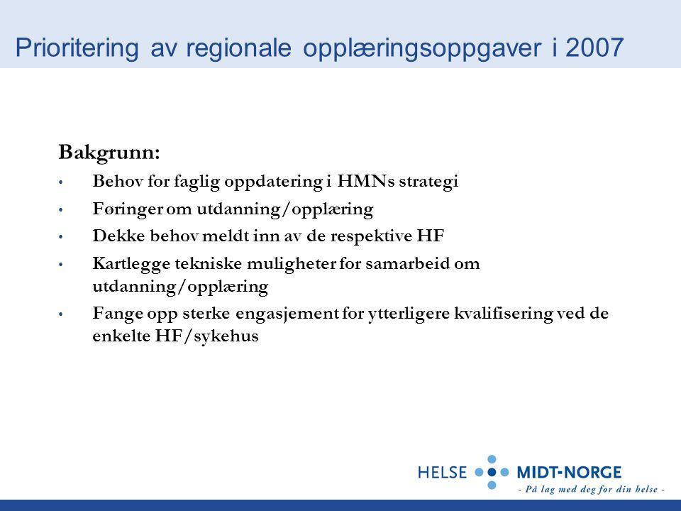 Prioritering av regionale opplæringsoppgaver i 2007 Bakgrunn: Behov for faglig oppdatering i HMNs strategi Føringer om utdanning/opplæring Dekke behov