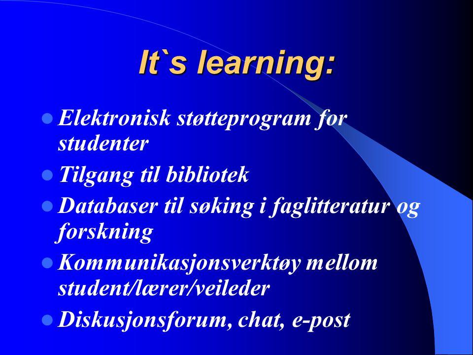 It`s learning: Elektronisk støtteprogram for studenter Tilgang til bibliotek Databaser til søking i faglitteratur og forskning Kommunikasjonsverktøy m