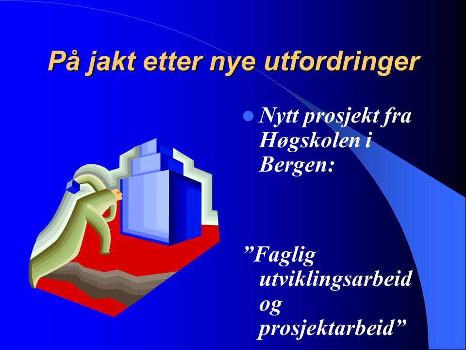 """På jakt etter nye utfordringer Nytt prosjekt fra Høgskolen i Bergen: """"Faglig utviklingsarbeid og prosjektarbeid"""""""
