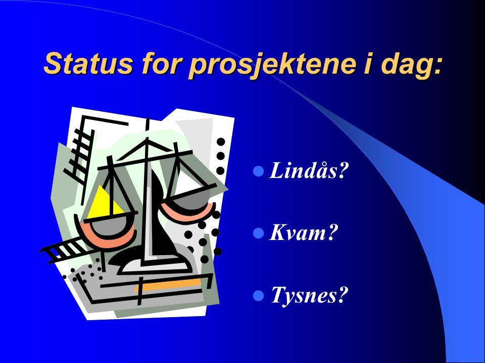Status for prosjektene i dag: Lindås? Kvam? Tysnes?