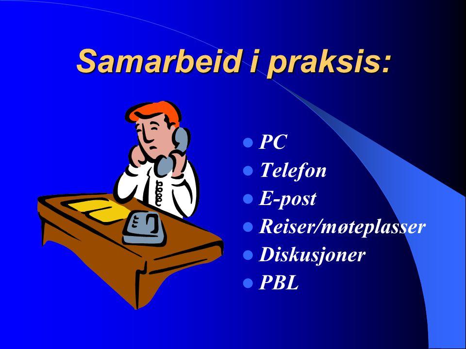 Samarbeid i praksis: PC Telefon E-post Reiser/møteplasser Diskusjoner PBL