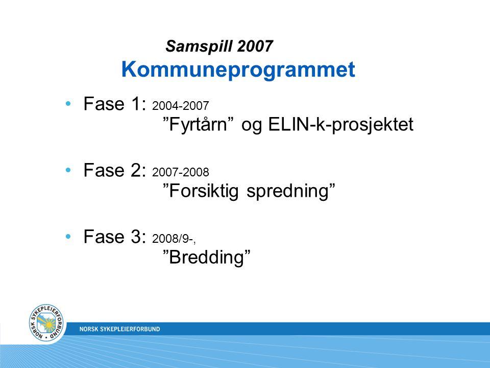 Fase 1: 2004-2007 Fyrtårn og ELIN-k-prosjektet Fase 2: 2007-2008 Forsiktig spredning Fase 3: 2008/9-, Bredding