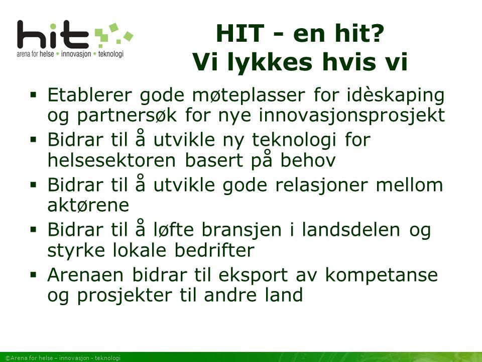 ©Arena for helse – innovasjon - teknologi Hva har skjedd Møteplasser Temamøteplasser Forstudier Søknader Prosjekter Kartlegginger Rapporter Infokanal: www.telemed.no/hit