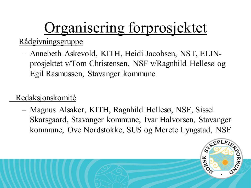 Organisering forprosjektet Rådgivningsgruppe –Annebeth Askevold, KITH, Heidi Jacobsen, NST, ELIN- prosjektet v/Tom Christensen, NSF v/Ragnhild Hellesø