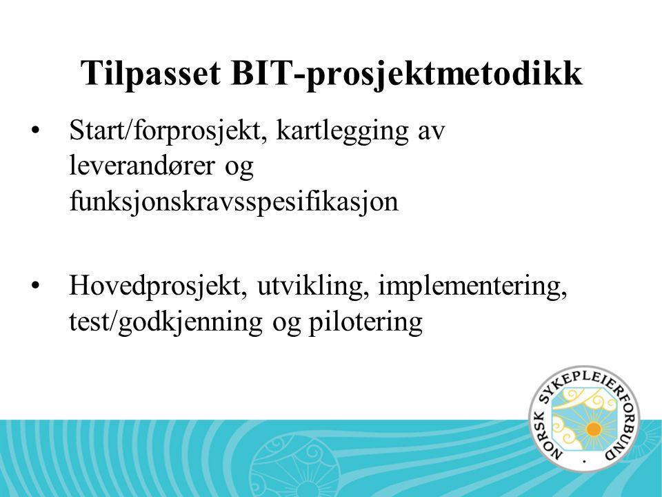 Tilpasset BIT-prosjektmetodikk Start/forprosjekt, kartlegging av leverandører og funksjonskravsspesifikasjon Hovedprosjekt, utvikling, implementering,