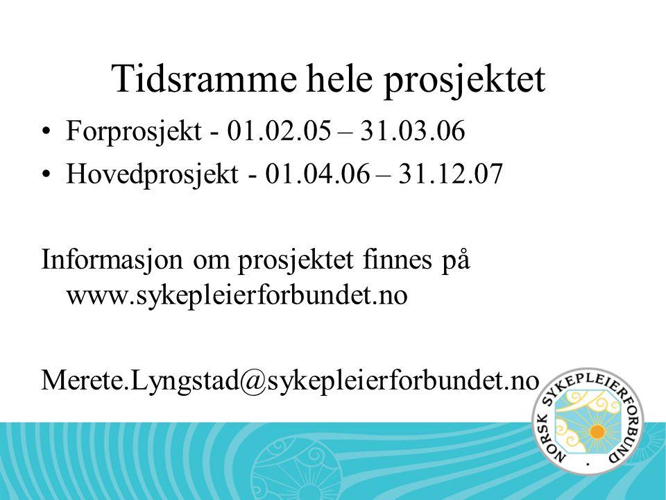 Tidsramme hele prosjektet Forprosjekt - 01.02.05 – 31.03.06 Hovedprosjekt - 01.04.06 – 31.12.07 Informasjon om prosjektet finnes på www.sykepleierforb