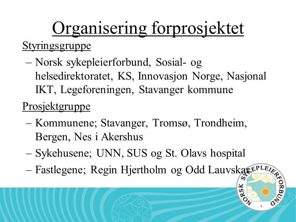 Organisering forprosjektet Styringsgruppe –Norsk sykepleierforbund, Sosial- og helsedirektoratet, KS, Innovasjon Norge, Nasjonal IKT, Legeforeningen,