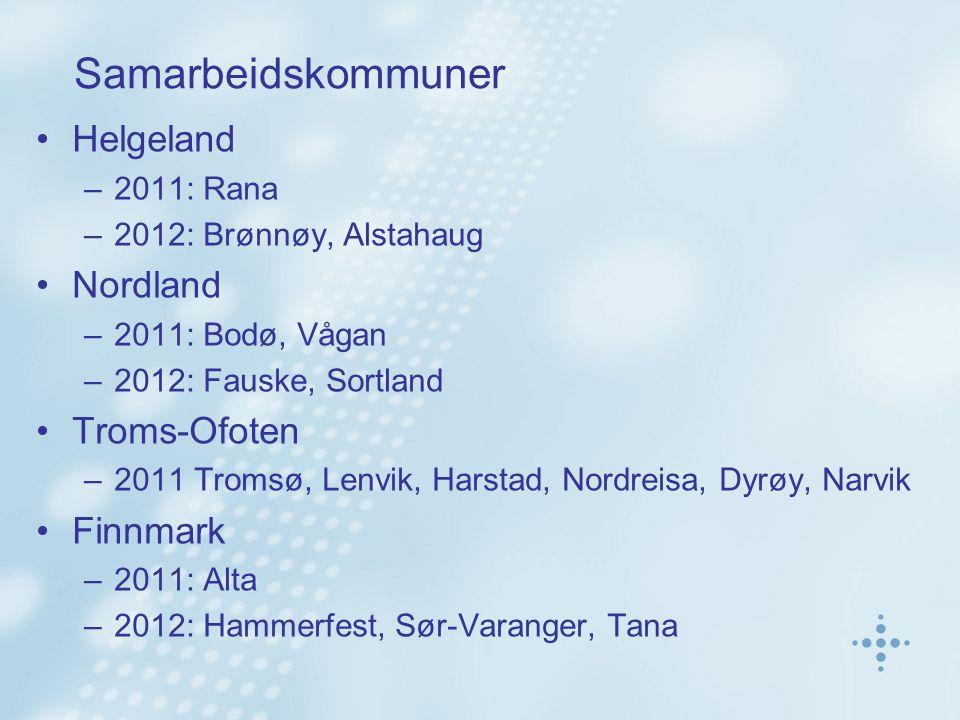 Samarbeidskommuner Helgeland –2011: Rana –2012: Brønnøy, Alstahaug Nordland –2011: Bodø, Vågan –2012: Fauske, Sortland Troms-Ofoten –2011 Tromsø, Lenv