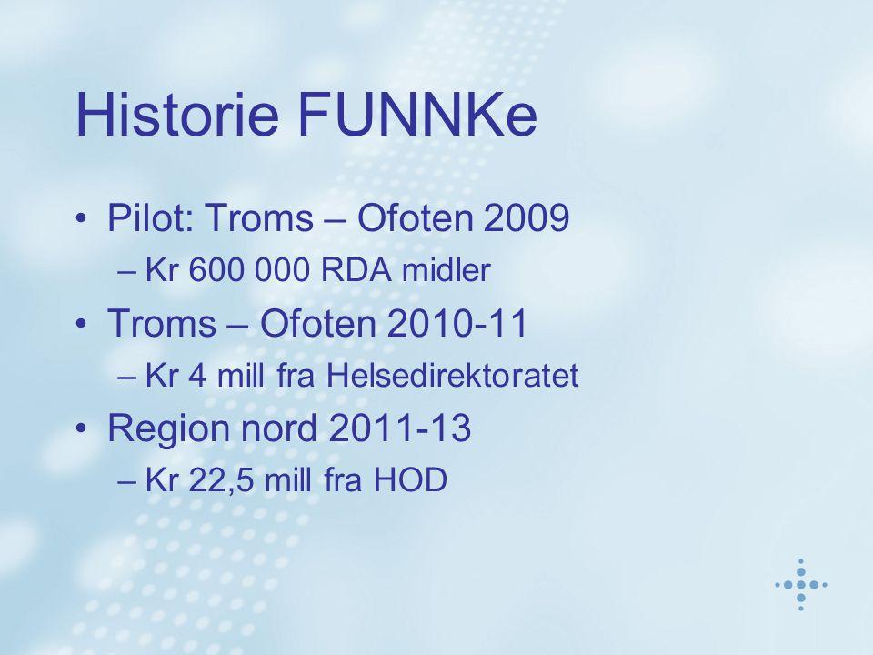 Historie FUNNKe Pilot: Troms – Ofoten 2009 –Kr 600 000 RDA midler Troms – Ofoten 2010-11 –Kr 4 mill fra Helsedirektoratet Region nord 2011-13 –Kr 22,5