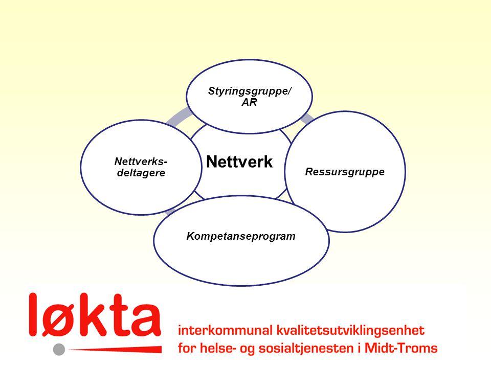Nettverk Styringsgruppe/ AR Ressursgruppe Kompetanseprogram Nettverks- deltagere