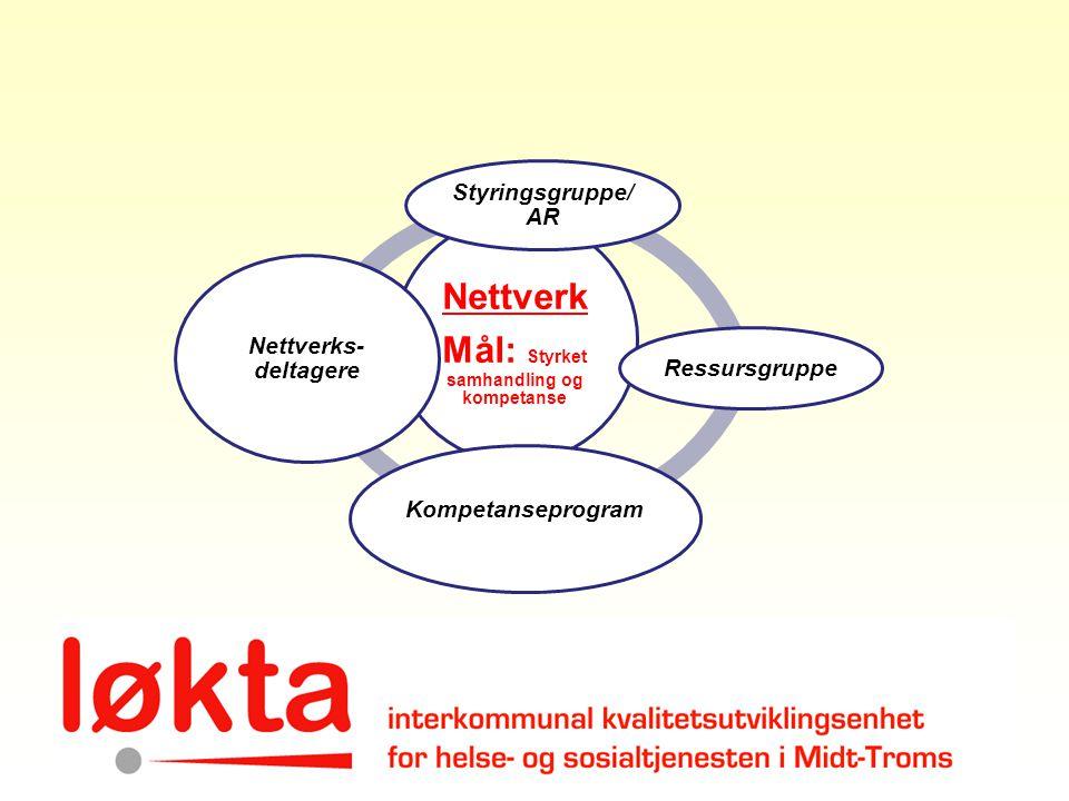 Nettverk Mål: Styrket samhandling og kompetanse Styringsgruppe/ AR Ressursgruppe Kompetanseprogram Nettverks- deltagere