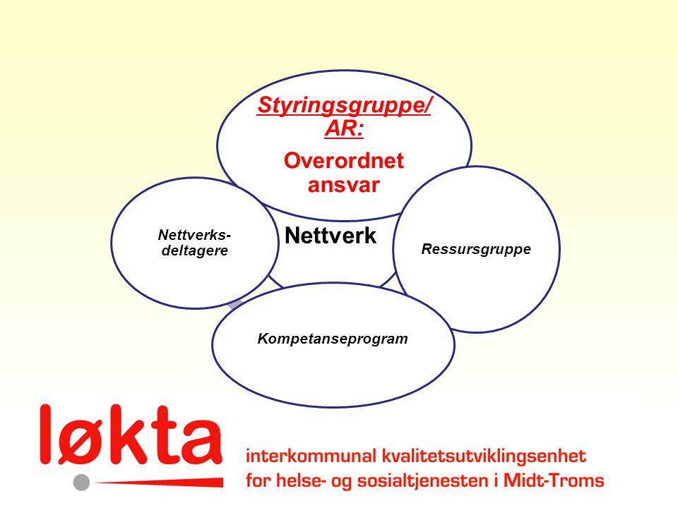 Nettverk Styringsgruppe/ AR: Overordnet ansvar Ressursgruppe Kompetanseprogram Nettverks- deltagere