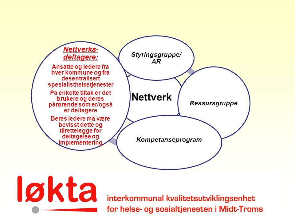 Nettverk Styringsgruppe/ AR Ressursgruppe Kompetanseprogram Nettverks- deltagere: Ansatte og ledere fra hver kommune og fra desentralisert spesialisth