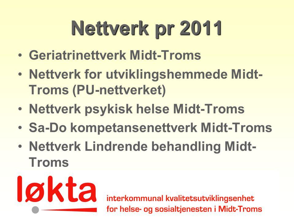 Nettverk pr 2011 Geriatrinettverk Midt-Troms Nettverk for utviklingshemmede Midt- Troms (PU-nettverket) Nettverk psykisk helse Midt-Troms Sa-Do kompet