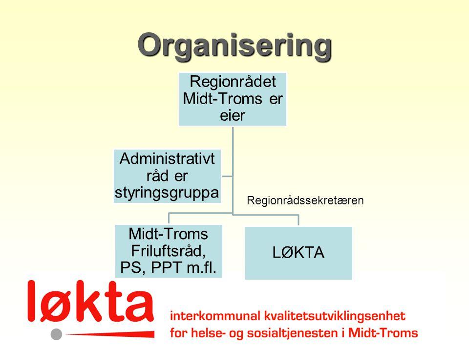 Organisering Regionrådet Midt-Troms er eier Midt-Troms Friluftsråd, PS, PPT m.fl. LØKTA Administrativt råd er styringsgruppa Regionrådssekretæren