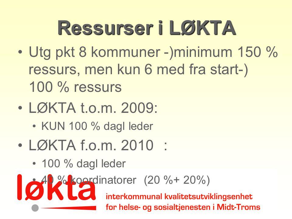 Ressurser i LØKTA Utg pkt 8 kommuner -)minimum 150 % ressurs, men kun 6 med fra start-) 100 % ressurs LØKTA t.o.m. 2009: KUN 100 % dagl leder LØKTA f.