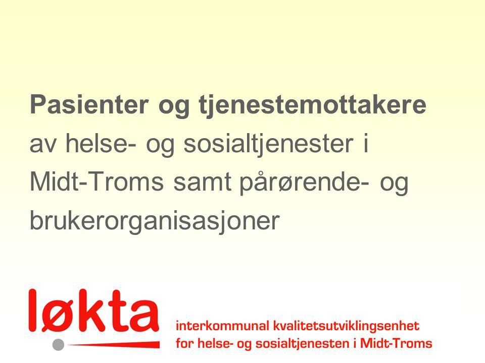 Nettverk pr 2011 Geriatrinettverk Midt-Troms Nettverk for utviklingshemmede Midt- Troms (PU-nettverket) Nettverk psykisk helse Midt-Troms Sa-Do kompetansenettverk Midt-Troms Nettverk Lindrende behandling Midt- Troms