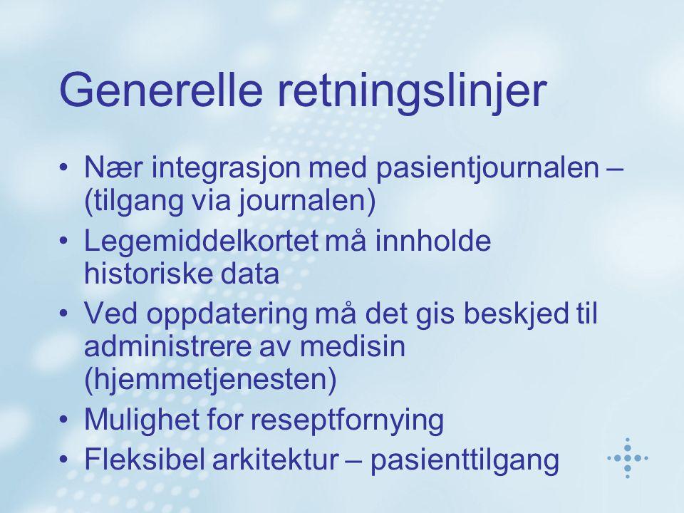 Generelle retningslinjer Nær integrasjon med pasientjournalen – (tilgang via journalen) Legemiddelkortet må innholde historiske data Ved oppdatering m