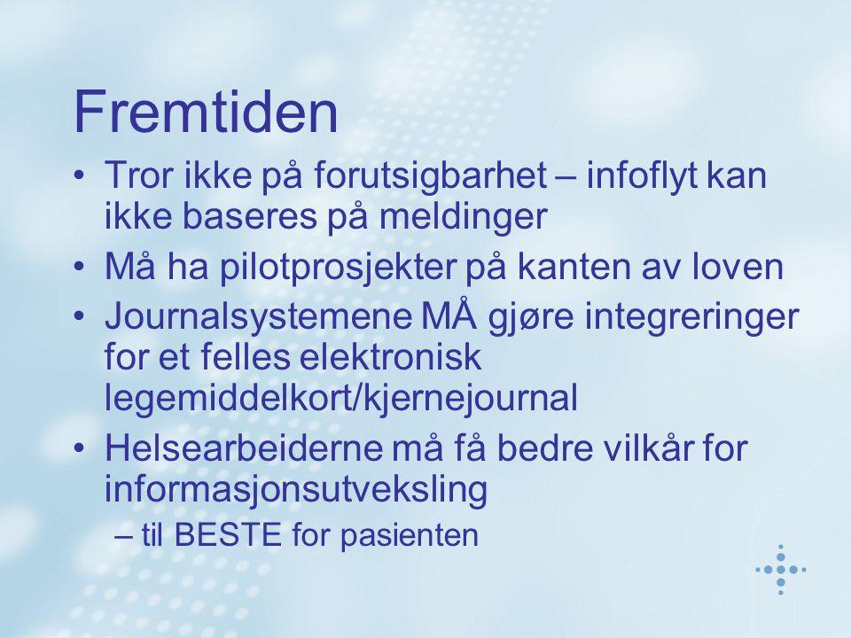 Fremtiden Tror ikke på forutsigbarhet – infoflyt kan ikke baseres på meldinger Må ha pilotprosjekter på kanten av loven Journalsystemene MÅ gjøre inte