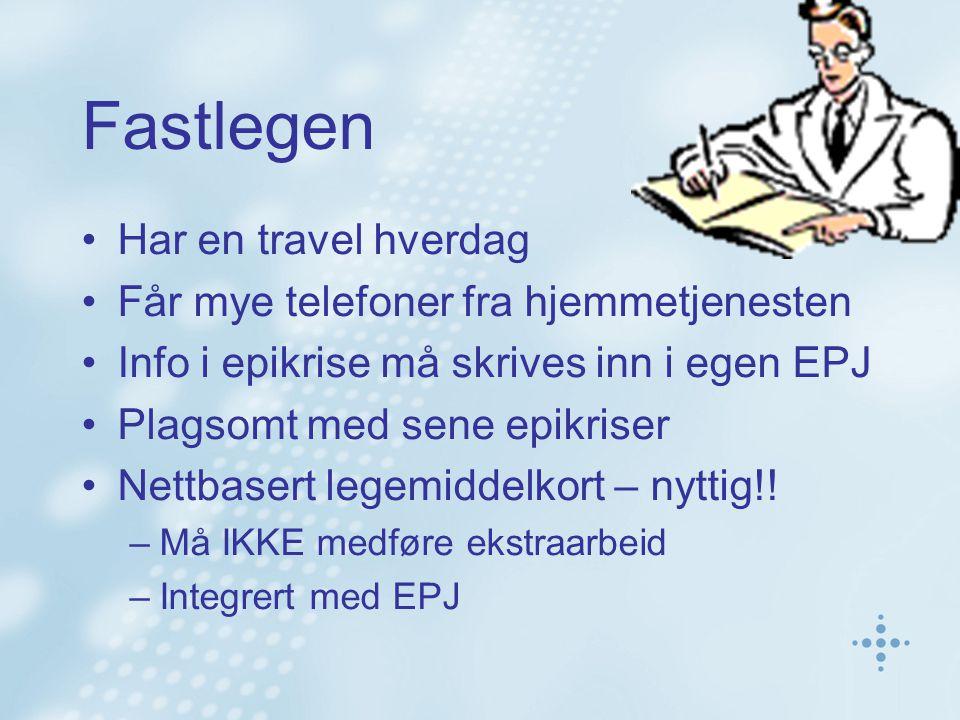 Legevakta Jobber i blinde Har kun gammel info om pasient Må stole på pillebokser og muntlig info Sender unntaksvis epikrise til fastlegen Nettbasert legemiddelkort – nyttig!!