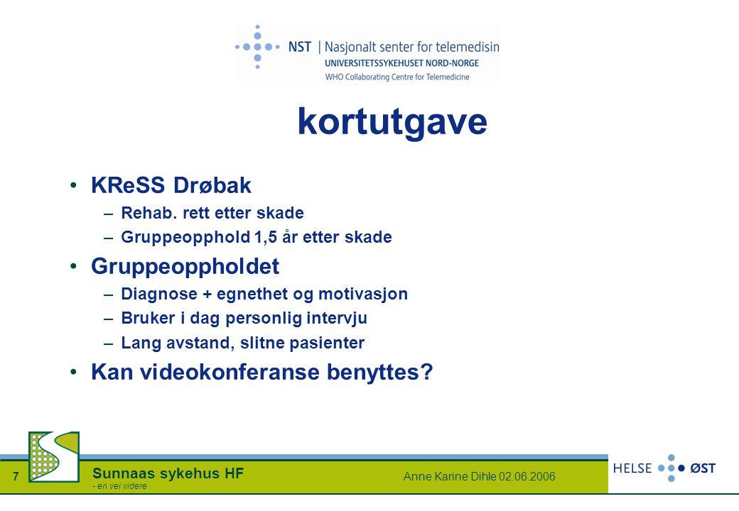 Anne Karine Dihle 02.06.20067 Sunnaas sykehus HF - en vei videre kortutgave KReSS Drøbak –Rehab. rett etter skade –Gruppeopphold 1,5 år etter skade Gr