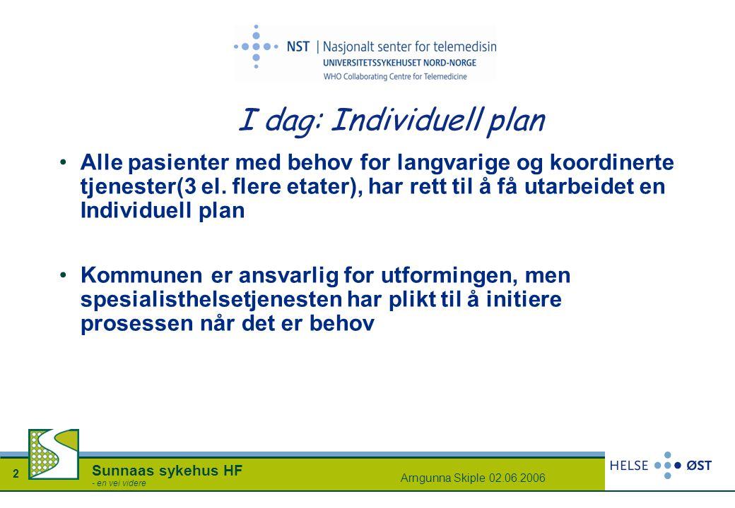 Arngunna Skiple 02.06.2006 2 Sunnaas sykehus HF - en vei videre I dag: Individuell plan Alle pasienter med behov for langvarige og koordinerte tjenest