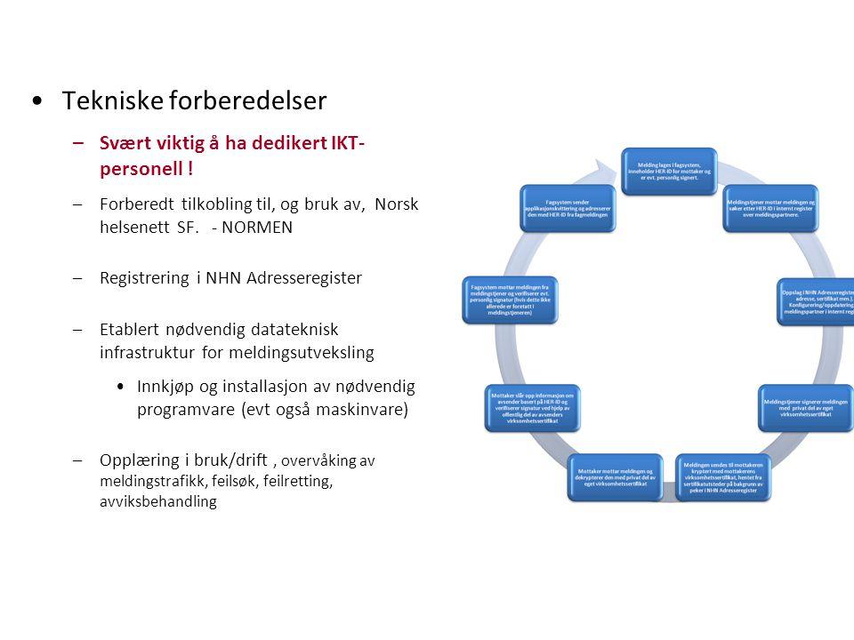 Tekniske forberedelser –Svært viktig å ha dedikert IKT- personell ! –Forberedt tilkobling til, og bruk av, Norsk helsenett SF. - NORMEN –Registrering