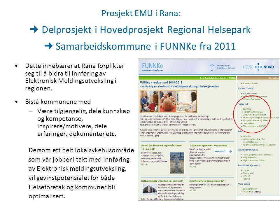 Prosjekt EMU i Rana: Delprosjekt i Hovedprosjekt Regional Helsepark Samarbeidskommune i FUNNKe fra 2011 Dette innebærer at Rana forplikter seg til å b